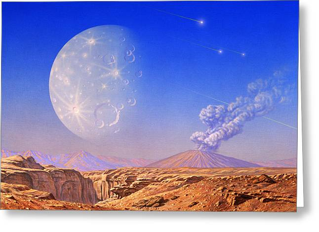 Origins Of Life Greeting Cards - Early Earth Greeting Card by Joe Tucciarone