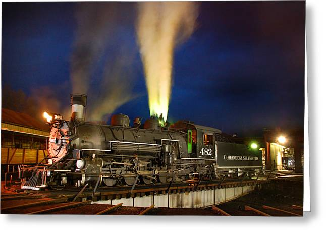Narrow Gauge Steam Engine Greeting Cards - Early Evening on the Turntable Greeting Card by Ken Smith