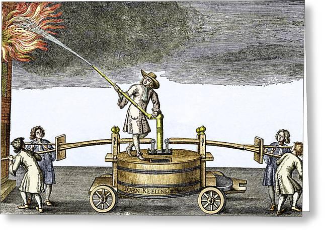 Burning Buildings Greeting Cards - Early Firefighting Equipment, 1678 Greeting Card by Sheila Terry