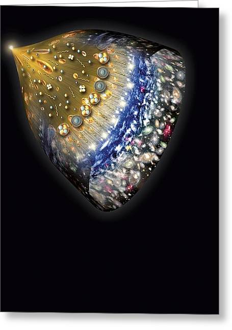 Expanding Light Greeting Cards - Early History Of The Universe, Artwork Greeting Card by Henning Dalhoff