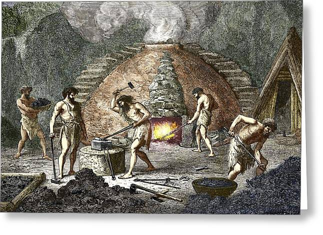 Early Humans Smelting Iron Greeting Card by Sheila Terry