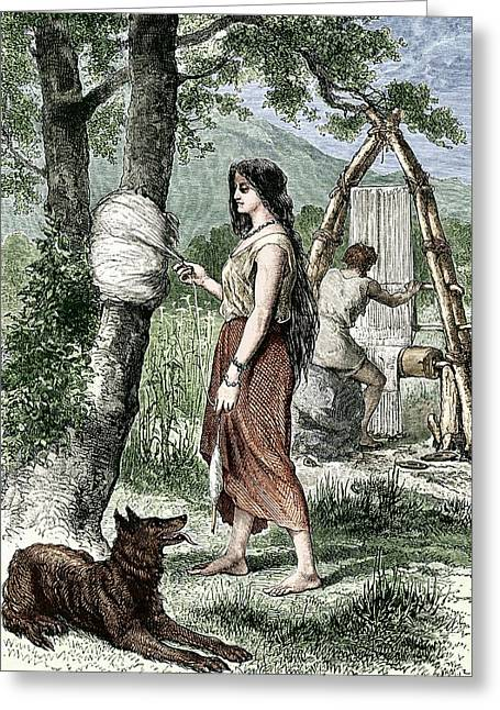 European Artwork Greeting Cards - Early Humans Weaving Greeting Card by Sheila Terry