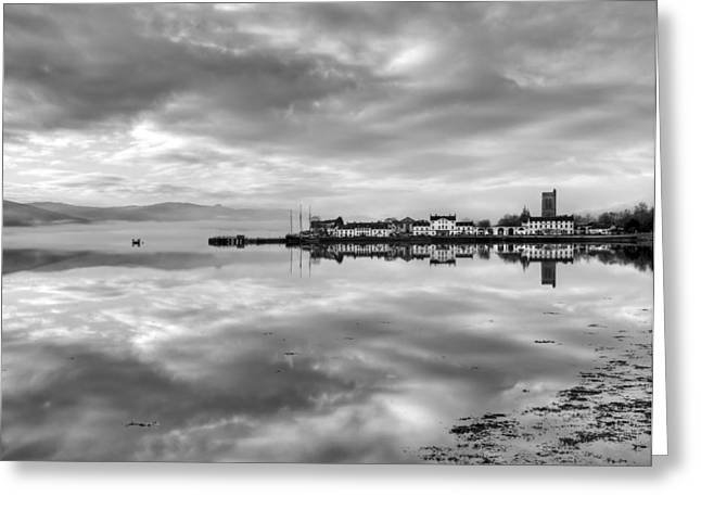Argyll And Bute Greeting Cards - Early morning at Inverary black and white version Greeting Card by Gary Eason