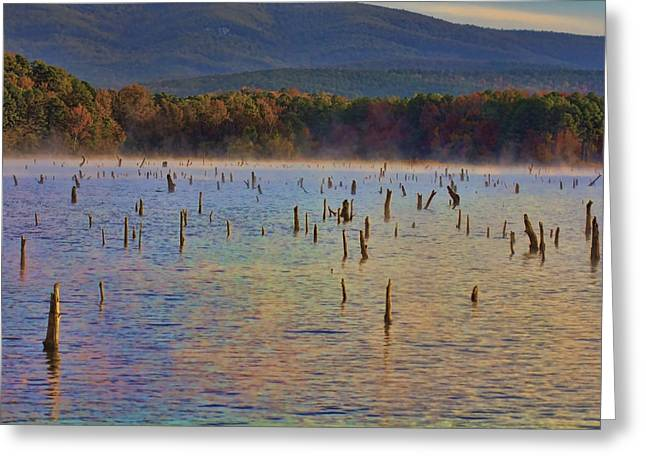 Arkansas Greeting Cards - Early Morning Color of Lake Wilhelmina-Arkansas Greeting Card by Douglas Barnard