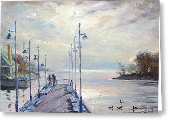 Deck Greeting Cards - Early Morning in Lake Shore Greeting Card by Ylli Haruni