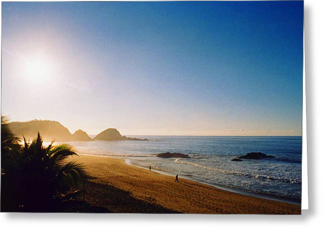 Pacific Ocean Greeting Cards - Early Morning in Zipolite 2 Greeting Card by Lyle Crump