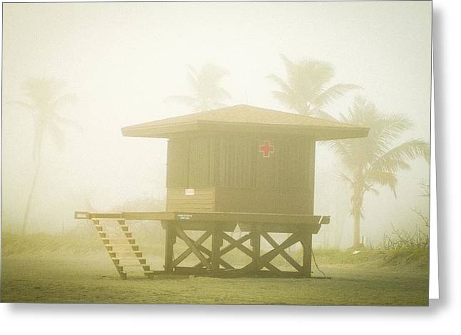 Foggy Beach Greeting Cards - Early Morning Lifeguard Stand Greeting Card by Patrick M Lynch