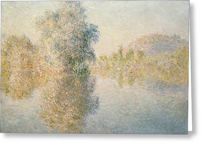 Seine Paintings Greeting Cards - Early Morning on the Seine at Giverny Greeting Card by Claude Monet