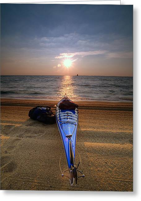 Kayak Greeting Cards - Early Morning Row Greeting Card by Edward Kreis