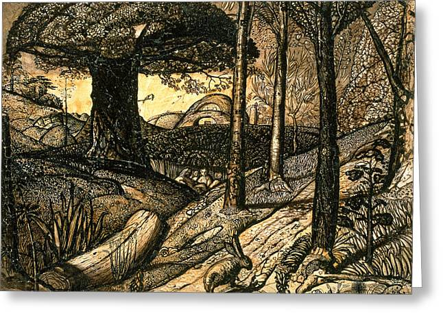 Samuel Drawings Greeting Cards - Early Morning Greeting Card by Samuel Palmer