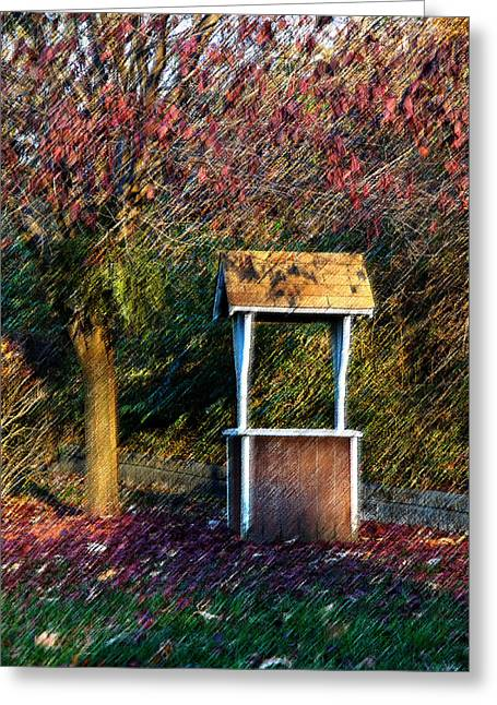 Wishes Greeting Cards - Early Morning Wishing Well on burlap Greeting Card by Jim DeLillo