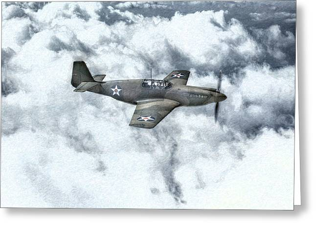 U.s. Air Force Greeting Cards - Early P-51 Mustang Fighter  Greeting Card by Randy Steele