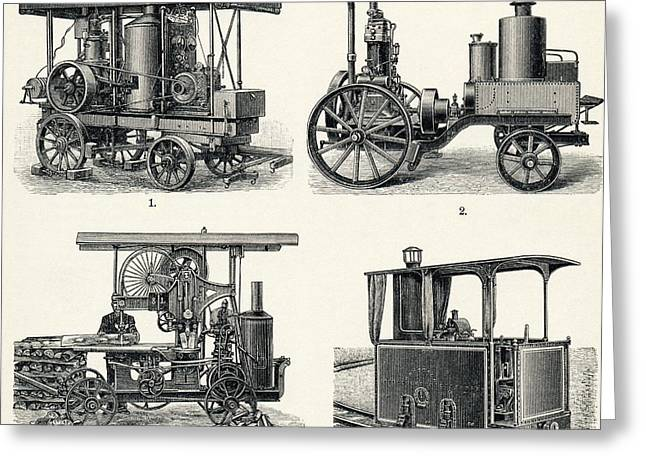 Quartet Greeting Cards - Early Petrol Locomotives Greeting Card by Sheila Terry