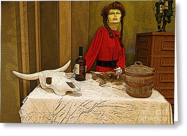 Table Cloth Greeting Cards - Early Saloon Keeper Greeting Card by Al Bourassa