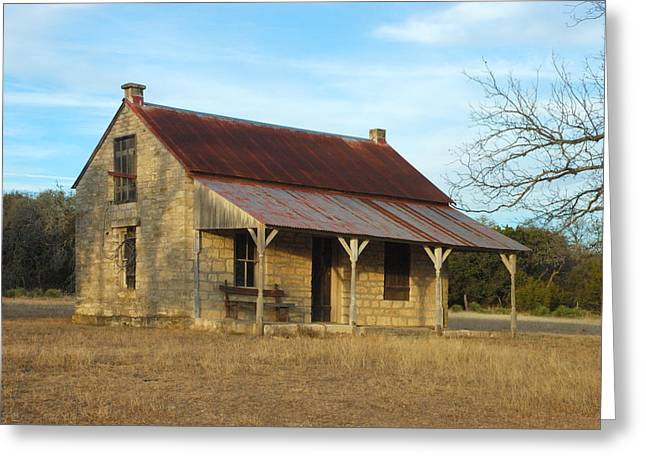 Stone House Greeting Cards - Early Schoolhouse  Greeting Card by Robert Anschutz