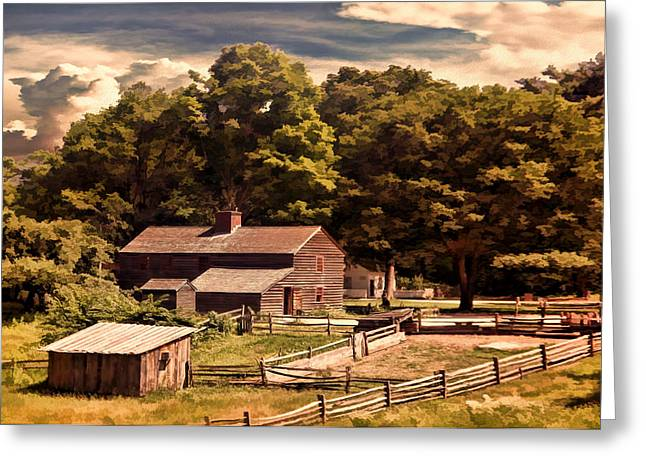 Old Cabins Greeting Cards - Early Settlers Greeting Card by Lourry Legarde