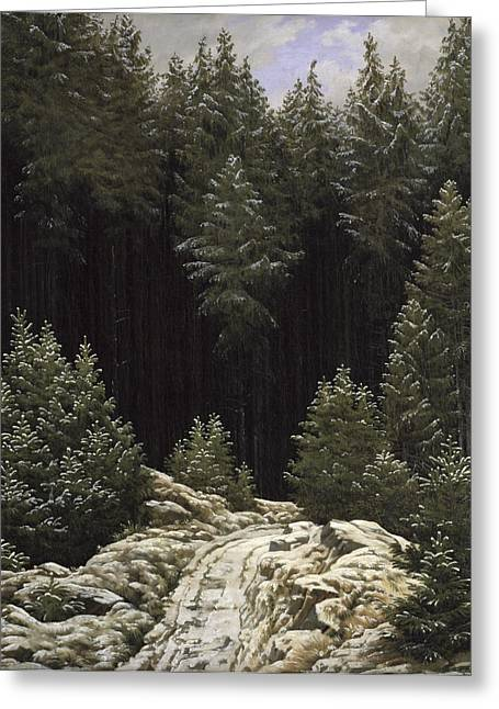 Wintry Greeting Cards - Early Snow Greeting Card by Caspar David Friedrich