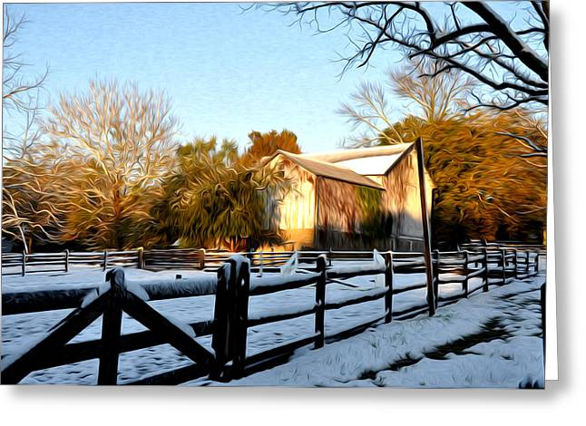Wintery Barn Greeting Cards - Early Snow Day Greeting Card by Bill Cannon