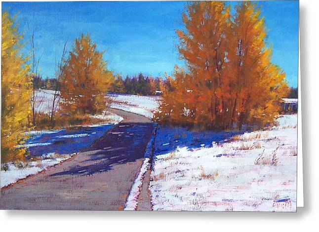 Winter Roads Greeting Cards - Early Snow Greeting Card by Graham Gercken