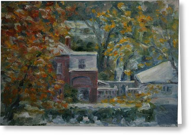 Pleinair Greeting Cards - Early Snow Hartford Greeting Card by Edward White