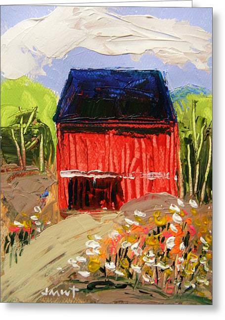 Red Roofed Barn Drawings Greeting Cards - Early Spring Bouquet Greeting Card by John  Williams