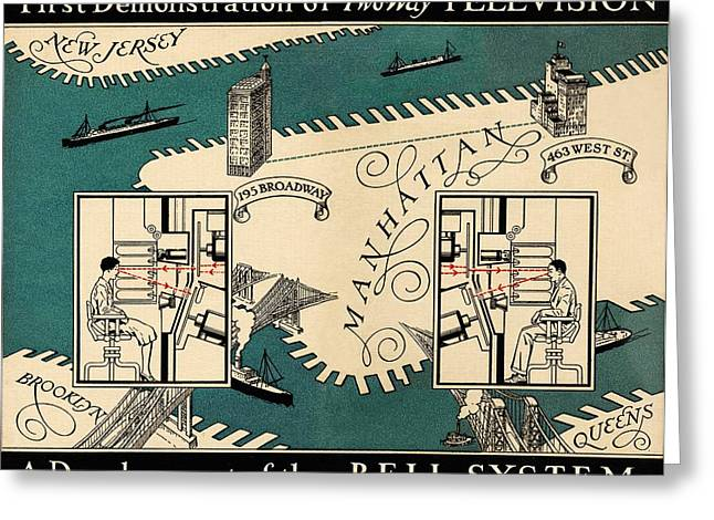 Quality Greeting Cards - Early Video Phone System, 1930 Greeting Card by Sheila Terry