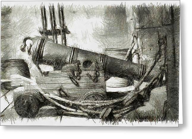 Manatee Co. Greeting Cards - Early Years of Artillery - Pencil Greeting Card by Nicholas Evans