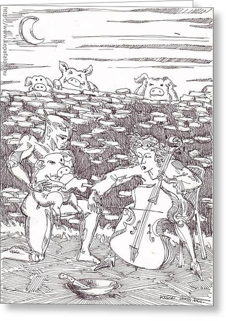 Martyrs Drawings Greeting Cards - Earlymorning solo concert before the executing Greeting Card by Zoltan Kollar