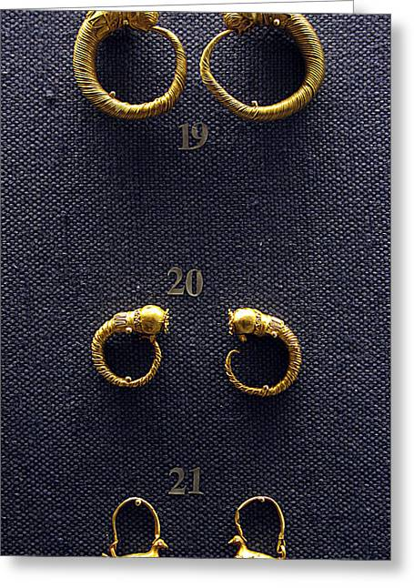 Gold Earrings Photographs Greeting Cards - Earrings Greeting Card by Andonis Katanos