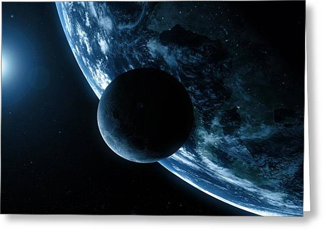 Planet Earth Greeting Cards - Earth And Moon, Artwork Greeting Card by Sciepro