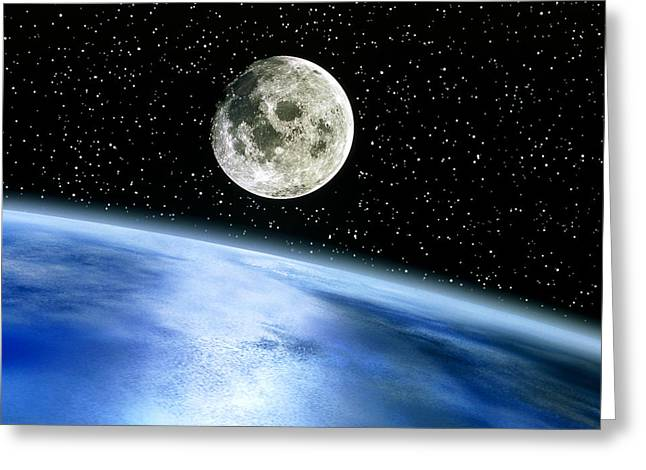 Moonrise Greeting Cards - Earth And Moon Greeting Card by Julian Baum