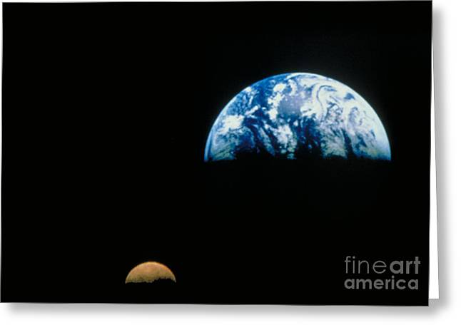 Science Greeting Cards - Earth And Moon Greeting Card by Nasa