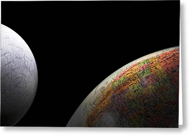 Earth and Moon Greeting Card by Rob Byron