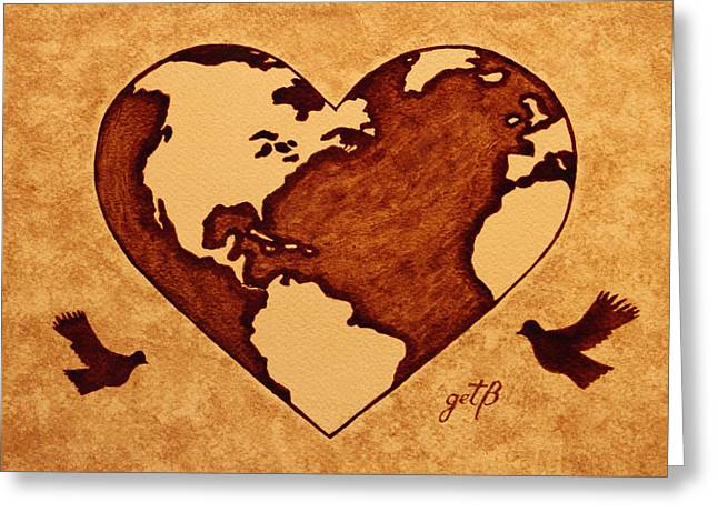 Planet Earth Greeting Cards - Earth Day Gaia Celebration coffee painting Greeting Card by Georgeta  Blanaru