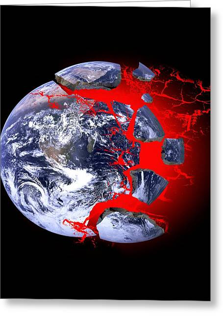 Moving Earth Greeting Cards - Earth Exploding, Conceptual Image Greeting Card by Victor De Schwanberg