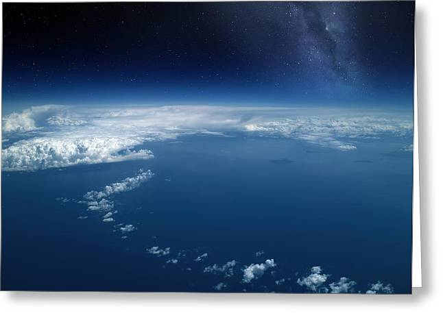 Jet Star Greeting Cards - Earth From High-altitude Aircraft Greeting Card by Detlev Van Ravenswaay