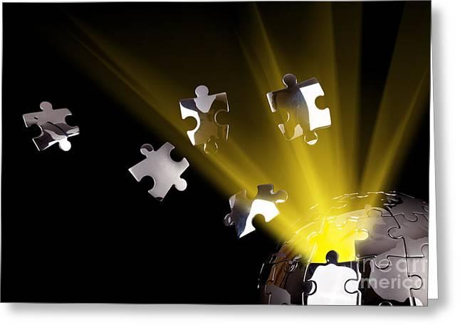 Jigsaw Greeting Cards - Earth globe bursting with energy Greeting Card by Simon Bratt Photography LRPS