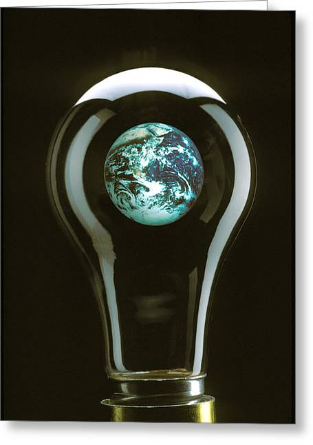 Breakable Greeting Cards - Earth in light bulb  Greeting Card by Garry Gay