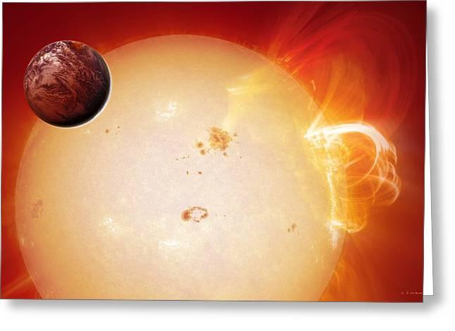 Earthlike Greeting Cards - Earth-like Planet And Star, Artwork Greeting Card by Detlev Van Ravenswaay