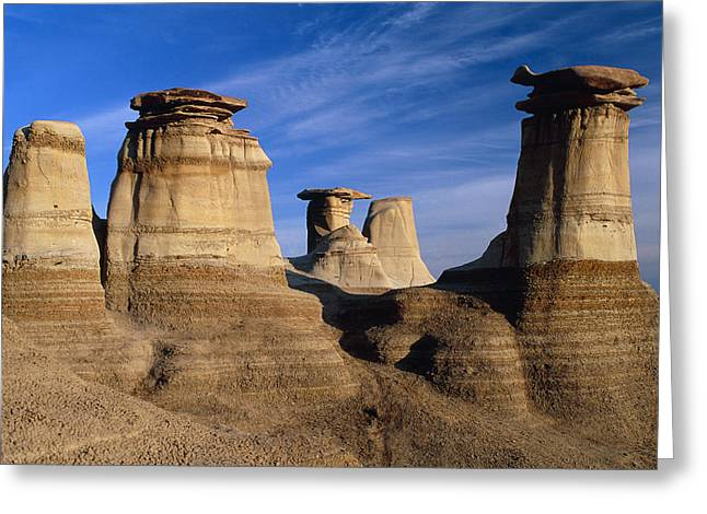 Geomorphology Greeting Cards - Earth Pillars (hoodoos) In Alberta Badlands Canada Greeting Card by David Nunuk