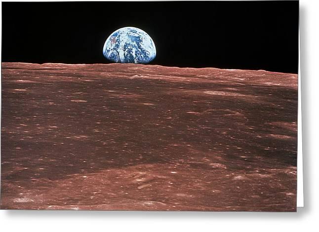 Moon Landing Greeting Cards - Earth Rising Greeting Card by Nasa