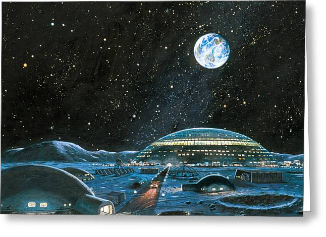 Lunar Base Greeting Cards - Earth Seen Above A City On The Moon Greeting Card by Chris Butler