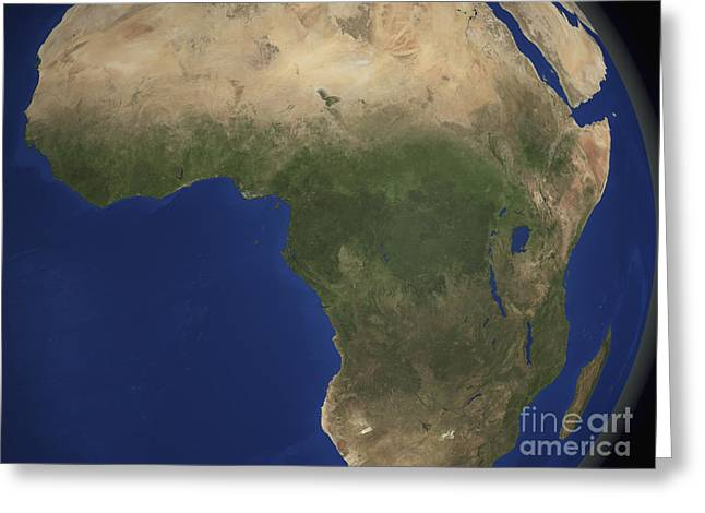 Earth Showing Landcover Over Africa Greeting Card by Stocktrek Images