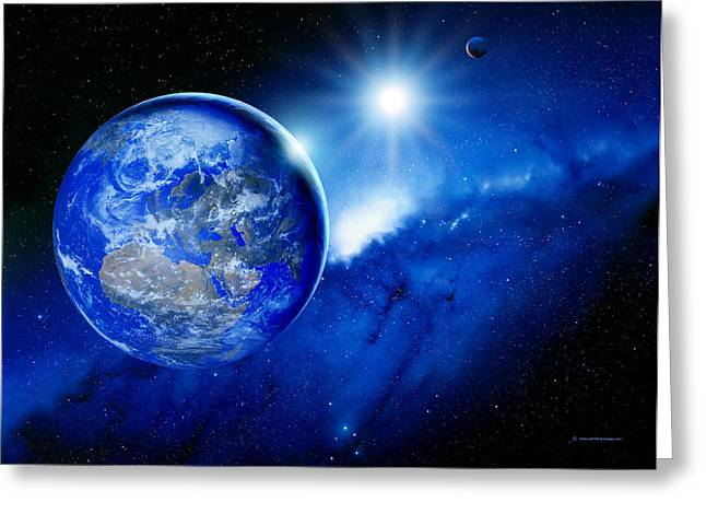 Way Home Greeting Cards - Earth, Sun And Moon Greeting Card by Detlev Van Ravenswaay