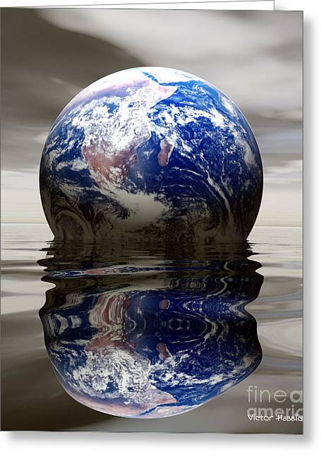Flooding Digital Art Greeting Cards - Earth Greeting Card by Victor Habbick Visions and Photo Researchers
