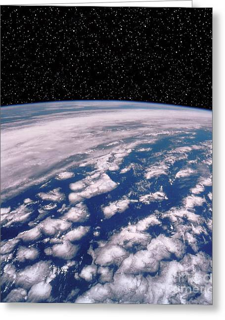 Starfield Greeting Cards - Earth With Starfield Greeting Card by NASA / Science Source