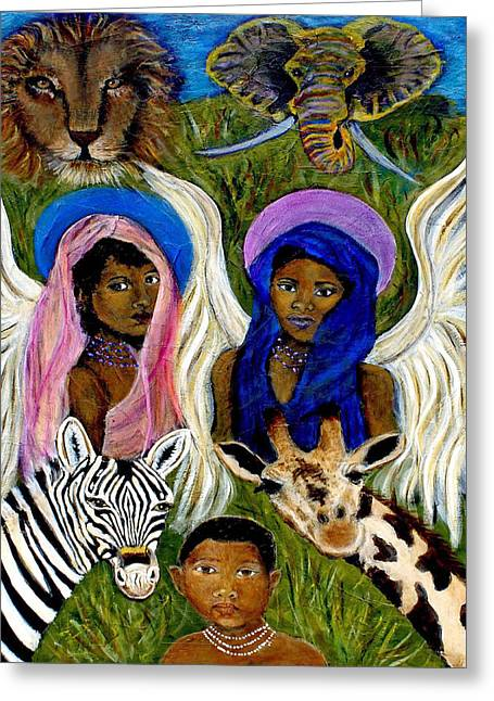 Charlotte Paintings Greeting Cards - Earthangels Abeni and Adesina From Africa Greeting Card by The Art With A Heart By Charlotte Phillips
