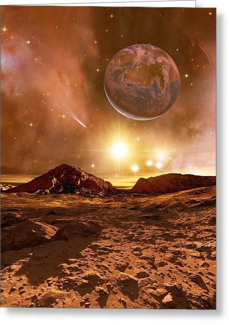 Earthlike Greeting Cards - Earthlike Alien Planet, Artwork Greeting Card by Detlev Van Ravenswaay
