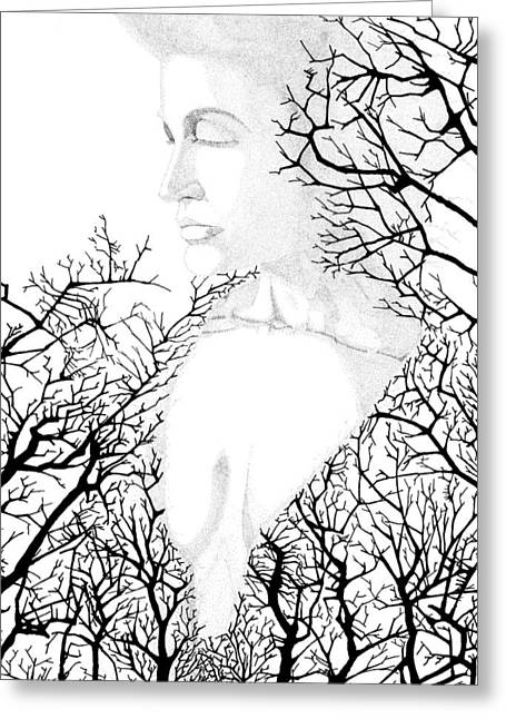 Bare Trees Drawings Greeting Cards - Earthmother Greeting Card by William Ground