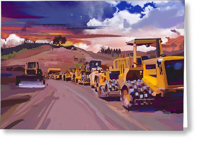 Underground Utilities Greeting Cards - Earthmover Dawn Greeting Card by Brad Burns